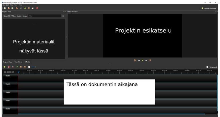 OpenShot ohjelman aloitusnäkymä.