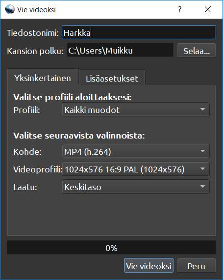 OpenShot lopullinen tallennusikkuna